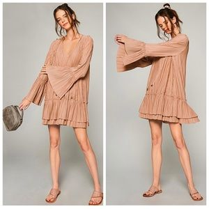 FREE PEOPLE Bell Sleeve Pleated V-Neck Mini Dress